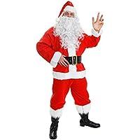Deluxe costume da Babbo Natale Babbo Natale 7pezzi Deluxe–Travestimento da giacca, pantaloni, cappello, cintura, barba, parrucca e copriscarpe–Babbo Natale costume fino a 58cm, petto: disponibile in 8taglie (S–XXXXXL)