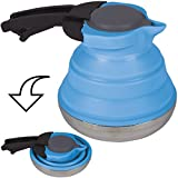 Siehe Beschreibung Hitzebestöndiger Silikon Teekessel mit Edelstahl-Boden 23 cm ø - Faltbar Wasserkessel Camping Wasser Kocher