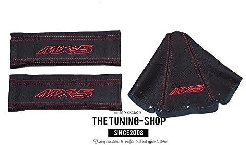 2x Housses pour ceinture de sécurité pour bandoulière en cuir noir rouge MX-5Edition + Gear Guêtre pour Mazda MX-51997–2005
