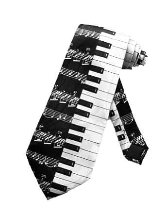 Steven Harris Cravate pour homme notes de pianos - noir et blanc - taille unique