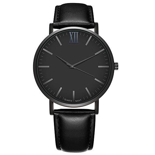 Souarts Homme Montre Bracelet Quartz Analog Cadran Grand Simple Rond Business Cuir Artificiel Noir 24cm