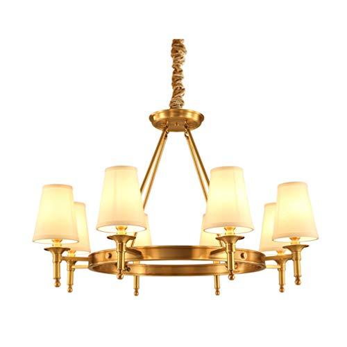 Neoklassisch Metall Warmes Weiß Textilschirme Warm-Licht 8 Flammig x 40W LED Pendelleuchten, Messing Kronleuchter Höhenverstellbar, für Küche Schlafzimmer wohnzimmerlampeΦ85CM, 8xE14 - Golden Bronze 8 Licht