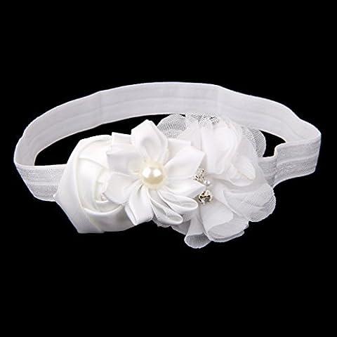 Baby Kinder Stirnband Blumen Blüten Haarband Haarbänder Haarschmuck Ver. Farbe - Weiß