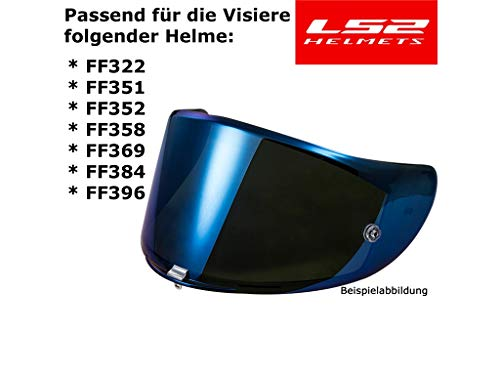 LS2 FF384 FF351 - Integralhelm-Visier für Motorrad-Helm - Getönt - Iridium-Blau