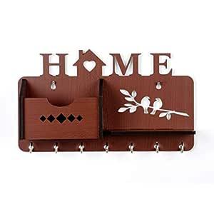 Sehaz Artworks Home Side Shelf Brown KeyHolder Wooden Key Holder (7 Hooks) Best for Valentines Day Gift