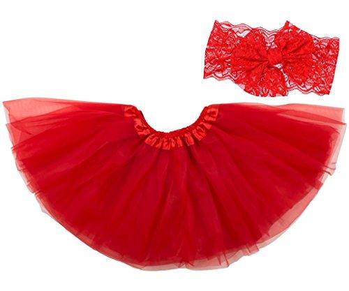 Dancina Mädchen Tüllrock Ballettrock Classic m. Passendem Haarband Rot Classic 2-4 ()