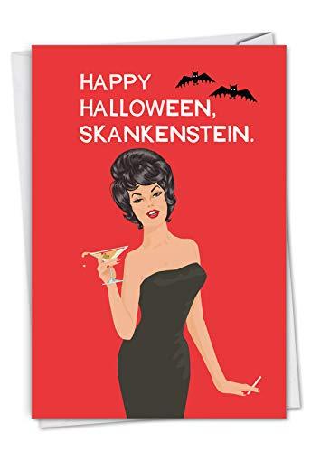 NobleWorks - Skankenstein - Sexy Halloween Karte mit Umschlag - Hot Woman Kostüm, Erwachsene Bluntcard für Frauen - Einfach Haloween Kostüm Für Erwachsene