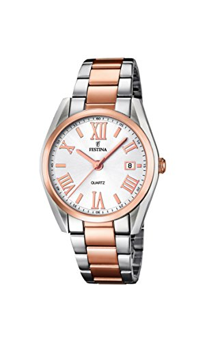 Festina Women's F16795/1 Quartz Watch with White Dial Analogue Display and Multi-Colour Stainless Steel Bracelet