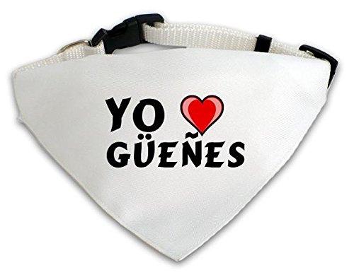 Pañuelo blanco personalizado para perros con Amo Güeñes (ciudad / asentamiento)