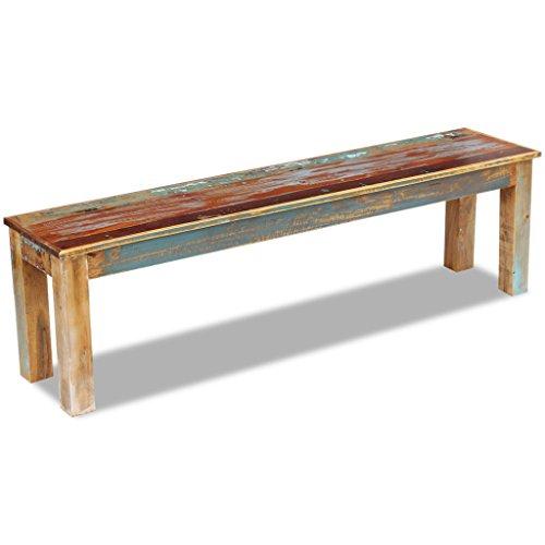 Festnight Retro-Stil Holzbank Sitzbank Ruhebank aus Recyceltes Massivholz Multifunktional Massivholzbank 160 x 35 x 46 cm - 7