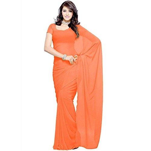 Modential Chiffon Silk Saree With Blouse Piece (Plain Orange_Orange_Free Size)
