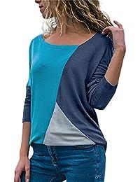 Mujeres Ocio Patchwork Camisa,Lonshell Moda Mujer Casual Labor de Retazos Bloque de Color Cuello Redondo Manga Larga Camiseta Blusa Tops