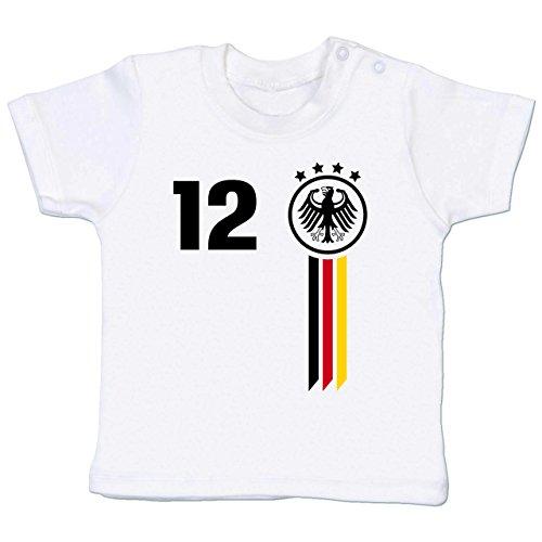 Fußball-Weltmeisterschaft 2018 - Baby - 12. Mann Deutschland WM - 18-24 Monate - Weiß - BZ02 - Babyshirt - Kleidung, Baby-mädchen Marke