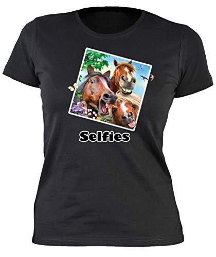 Girlie Shirt - Selfie Crazy Horses - Shirts 4 Girls Damen T-Shirt schwarz Geburtstag Geschenk lustig Bedruckt -