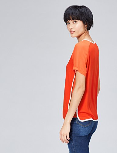 FIND Damen T-Shirt Sheer Sleeve_Short Rot (Sports Red/ivory)