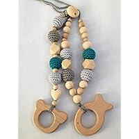 Conjunto de collar de lactancia y porteo y juguete de dentición modelo Natu2 Azulverdoso.