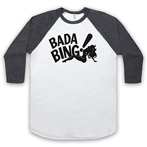 Inspiriert durch Sopranos Bada Bing Logo Unofficial 3/4 Hulse Retro Baseball T-Shirt Weis & Dunkelgrau