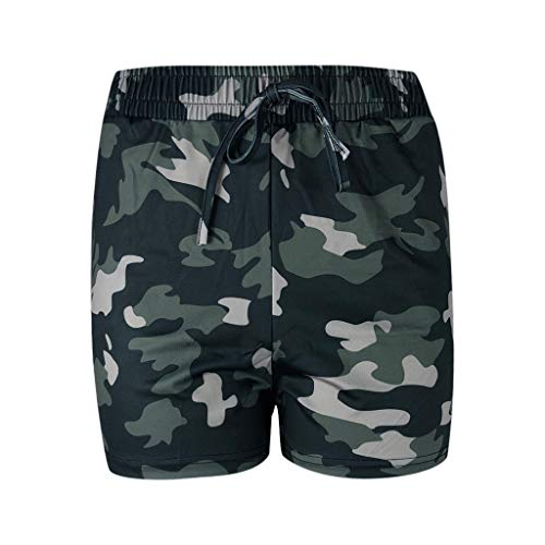 YULAND Damen Yoga Hosen Training Laufende Leggings - Damen Mode Sommer Shorts Elastische Taille Camo Print Shorts Sommer Strand Lässige Shorts Taille Camo