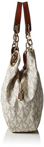 Michael Kors Fulton Large Logo Shoulder Bag, Sacs Portés Épaule Femme, 34x28x10 cm Beige (Vanilla 150)