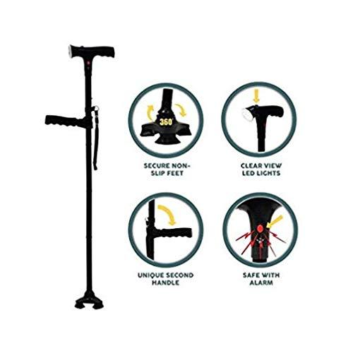 QJXF Cleverer Stock Mit LED-Licht, Sicherheits Alarm, Zwei Griffe-Faltbar, Verstellbar, Leichtgewichtige Gehstock Für Männer Oder Frauen Clever Cane - Faltbare Cane Quad