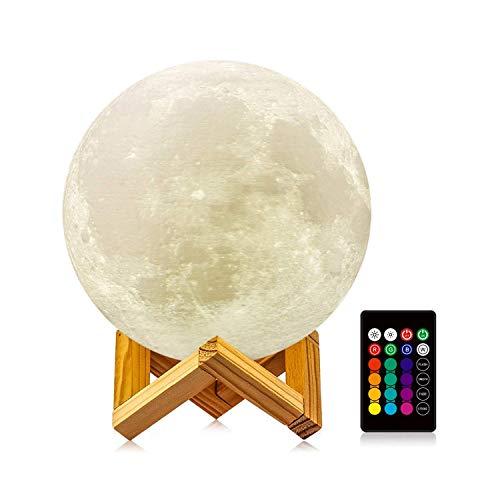 ICONNTECHS IT Lámpara Luna 3D Regulable Lámpara de Luna 16 Colores RGB Recargable USB Control remoto y Control táctil LED Lunar Luz Nocturna Regalo Mujer (Largo, 5.9in) Decoración Infantil para Habitación de Niños