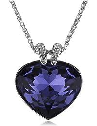 Swarovski Damen Halskette rhodiniert Herz Oceanic Tansanit Metall violett Purple Crystal 38 cm 5020050