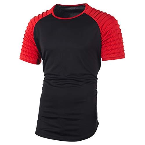 Nyuiuo Herren Sommer T-Shirt Nähte helle Farbe Bambus Baumwolle schlank Mode Kurzarm zweifarbige Nähte Herrenhemd Men\'s Creative Summer Casual Pullover T-Shirt Top Blouse