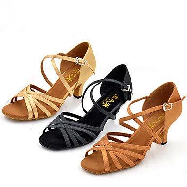 Scarpe da ballo-Personalizzabile-Da donna-Balli latino-americani Jazz Salsa Scarpe da swing-Tacco su misura-Raso-Nero Marrone Cammello Black