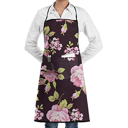 Hoklcvd Grill Aprons Kitchen Chef Bib Retro Yellow and Pink Roses Kitchen Cooking Aprons with 2 Pockets for Women and Men-Adjustable Neck Strap Apron