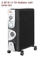 5711 Fin 240v Portable Electric Oil Filled Radiator Electric Caravan Heater (11 Fin 2.5kw Black Oil Filled Radiator)