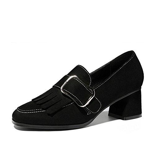 Damen Bequem Geschlossen Schuhe mit Blockabsatz Rund Zehen Soft Low-Top Schuhe Schwarz