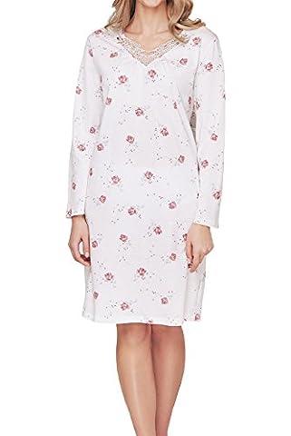 Cybele Damen Nachthemd mit bestickten V-Ausschnitt Langarm L 100 cm Größe 50 Sleepshirt Nachtwäsche