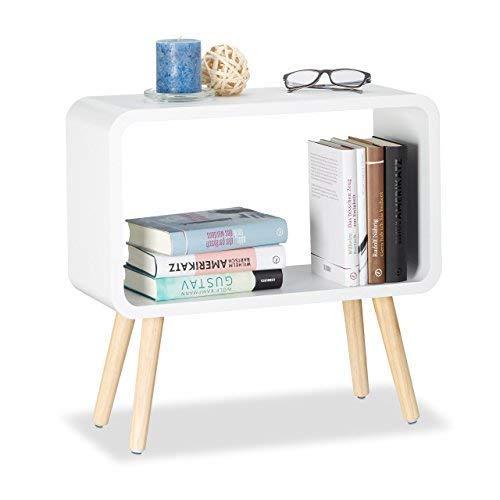 Relaxdays Standregal klein HxBxT: 50 x 53 x 20 cm, Nachttisch ohne Schublade, MDF Holzregal für das Kinderzimmer, weiß