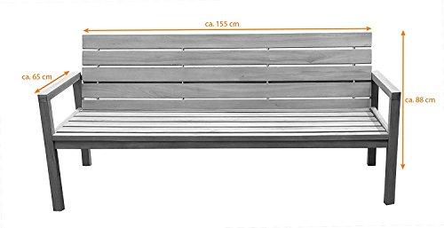 SAM® Teak-Holz Gartenbank mit Rückenlehne, massive Sitzbank für bis zu 3 Personen, ideal für Garten Terrasse Balkon oder Wintergarten, ca. 155 x 65 cm [521214] - 4