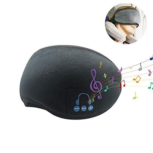 LayOPO Samt-Bluetooth-Schlafmaske, Kopfhörer, kabellos, Bluetooth 5.0, Freisprechanlage, eingebauter Stereo-Lautsprecher, weich, bequem, atmungsaktiv, waschbare Reise-Augenblenden (3 Farbe) Schwarz