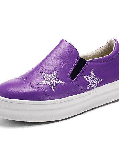 ZQ gyht Scarpe Donna - Mocassini - Ufficio e lavoro / Casual - Punta arrotondata - Piatto - Finta pelle - Nero / Rosa / Viola / Bianco , purple-us8 / eu39 / uk6 / cn39 , purple-us8 / eu39 / uk6 / cn39 purple-us7.5 / eu38 / uk5.5 / cn38