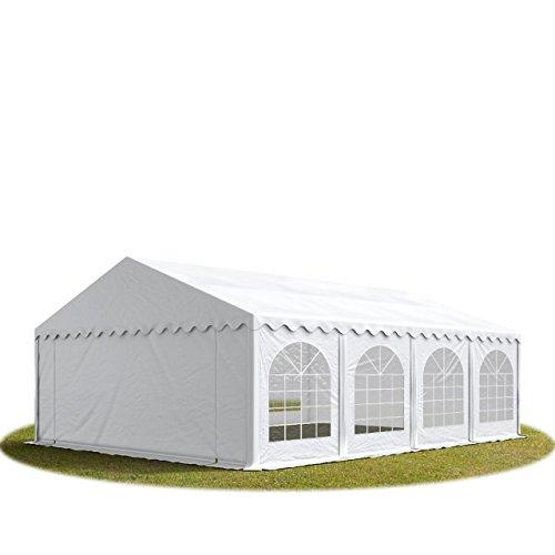 TOOLPORT Tente Barnum de Réception 6x8 m Premium Bâches Amovibles PVC 500 g/m² Blanc + Cadre de Sol Jardin INTENT24