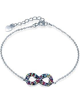 Yumilok 925 Sterling Silber Mehrfarbig Zirkonia Unendlichkeit Infinity Symbol Charm Armband Verstellbare Armkette...