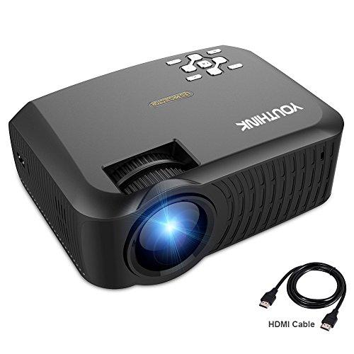 Mini Beamer LED Beamer Upgrade T22 2000 Lumen Heimkino Video Projektor LCD Beamer 800*480 unterstützt 1080P für Filmnacht Video Spiel Xbox TV Laptop iPhone Android Smartphone HDMI / VGA / USB / SD / AV Anschluss mit HDMI AV Kabel (Schwarz)