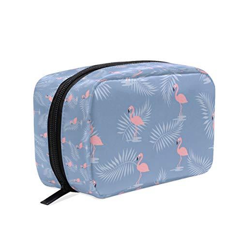 Wamika Kosmetiktasche mit rosa Flamingo-Vogel auf blauem Make-up-Tasche, Kosmetiktasche, Kulturbeutel, Reisetasche, für Damen, tropische Sommerpalmenblätter, tragbare Organizer, Aufbewahrungstasche (Vogel-zelt Medium)
