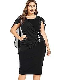 b23cf6acd048 NANADEDIAN Abito Vestito Comfort Versatile Classico Moda Plus Size d  Impreziosito Dress Estate O Neck Senza Maniche Abiti da Donna OL…