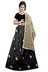 Florence Womens Silk Black Embroidery Lehengha Choli(MX003)