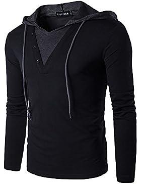 Hombre Primavera Camisa De Entrenamiento Sudadera Con Capucha De Manga Larga Pull-Over Negro L