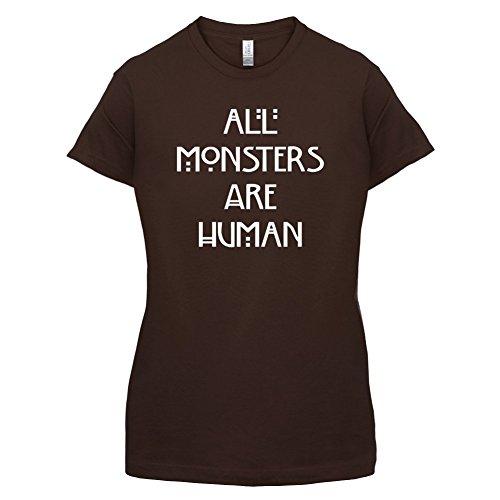 All Monsters Are Human - Damen T-Shirt - Dunkles Schokobraun - XXL