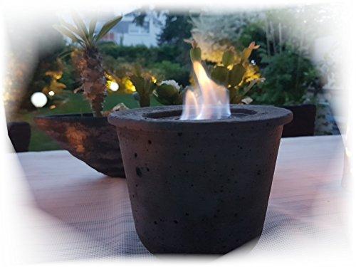 Der Perlenspieler Tischfeuer Tischfackel Tischkamin Gelfeuer Tischkamin Gartenkamin Windlicht Outdoor Betonfeuer Vintage Shabby *Anthrazit*