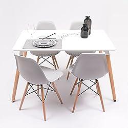 Conjunto de comedor TOWER con mesa lacada blanca y 4 sillas, de diseño nórdico (120x80, Gris claro)