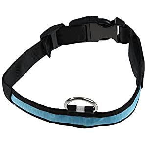 SODIAL(R)LED clignotant de securite reglable lumineux chien Lumiere Nylon Plaine Collar Tag - Bleu XL