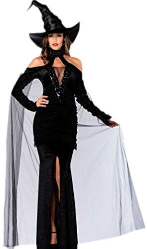 auen Sultry Sorceress Kostüm Hexen Kleid mit Umhang und Hut., S, Schwarz (Sultry Sorceress Erwachsene Damen Kostüme)