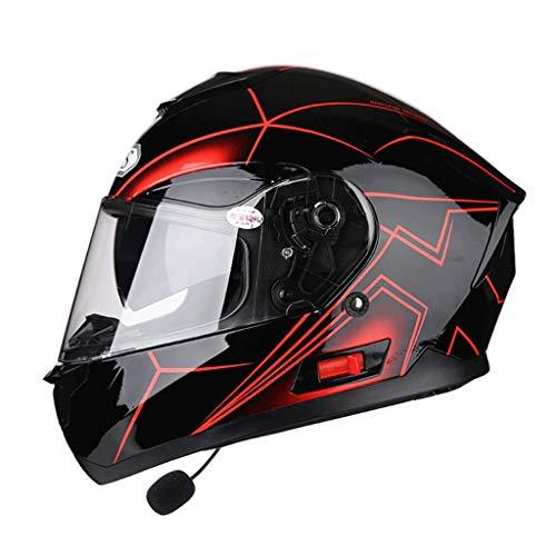 OUTO Casco Desmontable multifunción Anti-vaho Doble Lente Motocicleta Hombres y Mujeres Full Face Helmet Bluetooth Headset (Color : Red Aurora, Tamaño : XL)