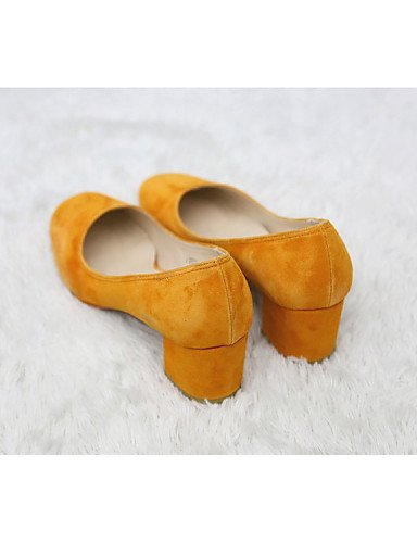 ZQ gyht Damenschuhe - High Heels - Outddor / B¨¹ro / L?ssig - Mikrofaser - Blockabsatz - Komfort / Quadratische Zehe / Modische Stiefel -Gelb / burgundy-us5.5 / eu36 / uk3.5 / cn35